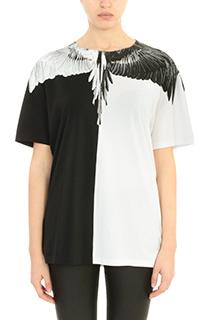 Marcelo Burlon-T-Shirt Aike in cotone nero bianco