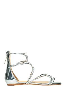 Schutz-Sandali in pelle metal argento