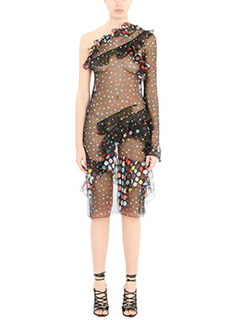 Givenchy-Vestito in seta pois nera e multicolor