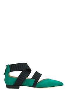 Benedetta Boroli-Ballerine Cadorna in camoscio verde smeraldo