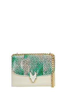 Visone-Borsa Carol in pelle beige e pitone verde