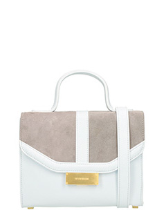 Visone-Borsa Angie Small in pelle bianca taupe