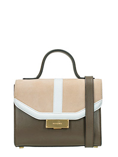 Visone-Borsa Angie Small in pelle marrone bianca taupe