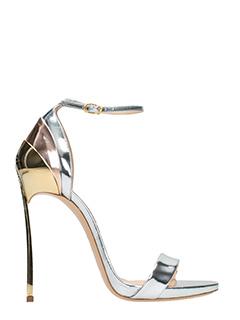 Casadei-Sandali in pelle specchiata argento  oro