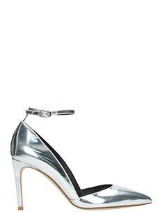 Diane Von Furstenberg-Decolletè Laredo in pelle specchiata argento