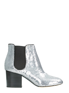 Diane Von Furstenberg-Demonte silver leather ankle boots