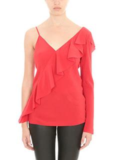 Diane Von Furstenberg-Blusa Ruffle Front in seta rossa