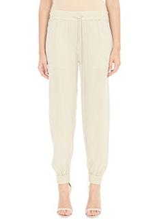 Theory-Pantaloni Cortland in seta beige