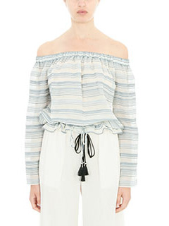 Theory-Blusa Odettah in cotone bianco blue