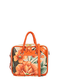 Balenciaga-Blanket square orange leather bag