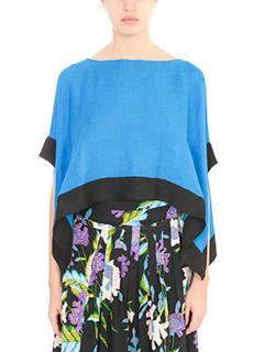 Diane Von Furstenberg-Top Linen Tee Shirt in lino blue