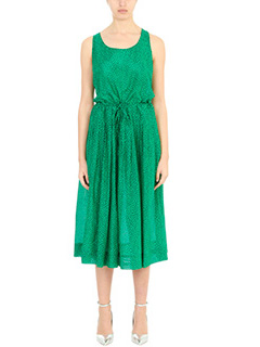 Diane Von Furstenberg-Vestito Drawstring Dress in cotone verde