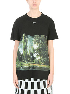 Off White-T-shirt Countryside Over in cotone nero