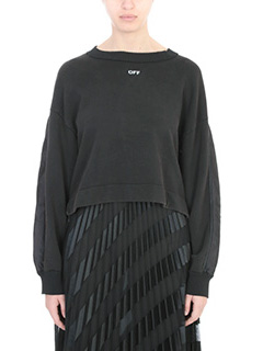 Off White-Felpa Back Coulisse in cotone nero
