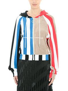 Off White-Felpa Striped  Towel Zip in spugna rossa blue nera