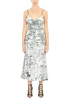 Off White-Vestito Sequins Slip Dress in tessuto paillettes argento
