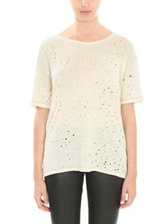 Iro-Orlana beige cotton and linen t-shirt