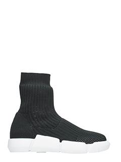Elena Iachi-Sneakers alta in tessuto elastico nero
