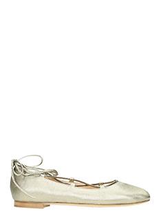 Julie Dee-gold leather ballet flats