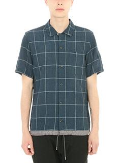 Attachment-Camicia Checked in cotone e lino blu