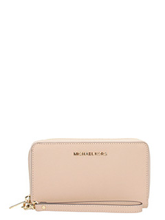 Michael Kors-Portafoglio lg flat mf phn case in pelle saffiano rosa