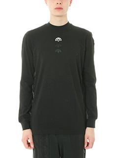 Adidas per Alexander Wang-T-shirt maniche lunghe Logo in cotone nero
