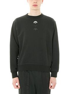 Adidas per Alexander Wang-Felpa Logo Crew in cotone nero