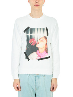 Kenzo-Felpa Girl with Rose in cotone bianco