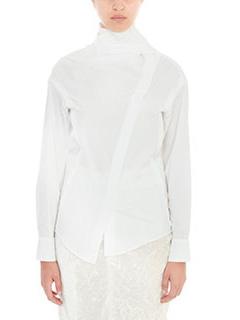 Victoria Beckham-Camicia Wrap Tie in popeline di cotone bianco