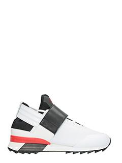 Y-3-Sneakers Atira in pelle e tessuto nero bianco rosso