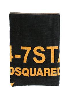 Dsquared 2-Asciugamano Beach Towel in spugna nera. stampa logo