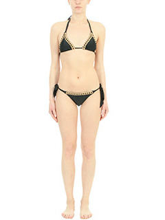 Despi-Costume Algarve Bikini Botton  in lycra nera-chiusura con lacci