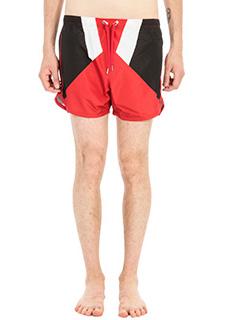 Neil Barrett-Costume Boxer in tessuto tecnico nero rosso bianco