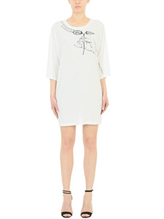 Maison Margiela-Abito T-shirt Over in cotone bianco