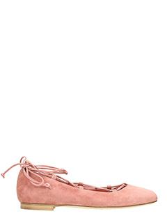 Julie Dee-rose-pink suede ballet flats
