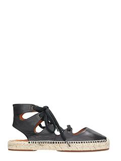 Chie Mihara-Peti black leather espadrilles