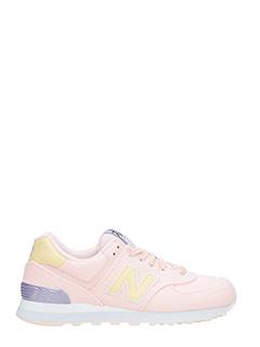 New Balance-Sneakers 574 in tessuto rosa giallo