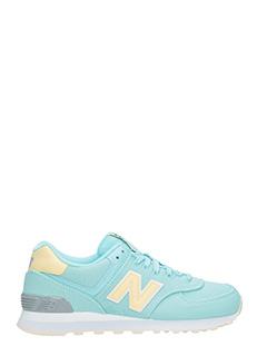 New Balance-Sneakers 574 in tessuto verde acqua