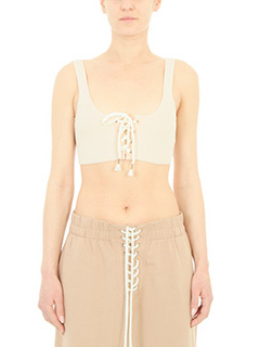 Puma Fenty-Top Lacing Long Bra in cotone a coste nude