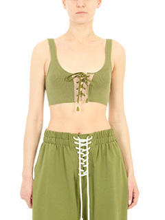 Puma Fenty-Top Lacing Long Bra in cotone a coste verde