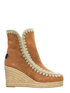 Mou-Jute wedge leather color suede boots