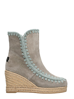 Mou-Jute wedge grey suede boots