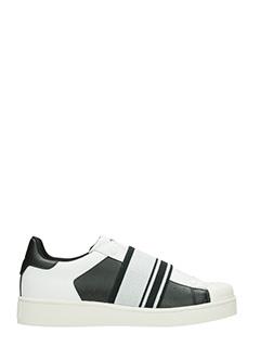 MOA-Sneakers Basse Slip On M518 in pelle bianca nerea