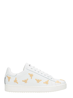 MOA-Sneakers Basse M550 Golden Bees in pelle bianca