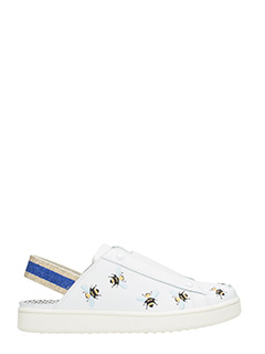 MOA-Sneakers Slip On Basse M557 Sabot in pelle bianca