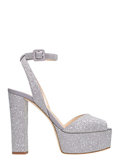 Giuseppe Zanotti-Sandali Betty in tessuto micro glitter grigio -cinturino alla caviglia