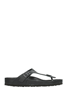Birkenstock-Gizeh black leather flats