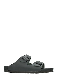 Birkenstock-Monterey black leather flats