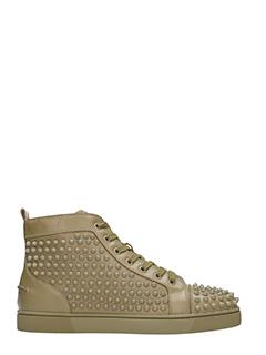 Christian Louboutin-Louis flat  green leather sneakers
