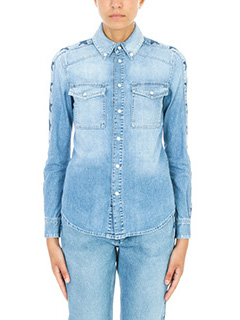 Givenchy-Camicia Star Print in denim blue